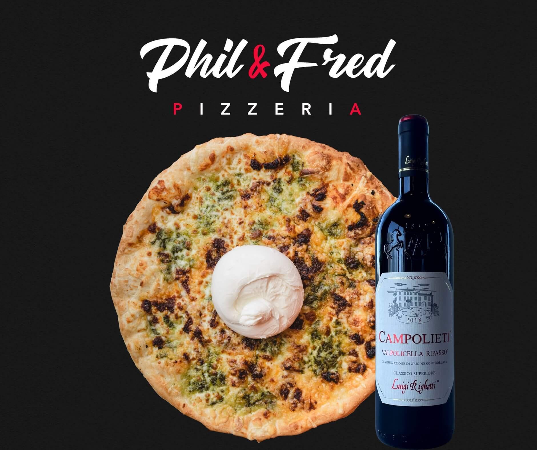 La pizza Burrata & Pesto avec le vin rouge Campolieti Ripasso