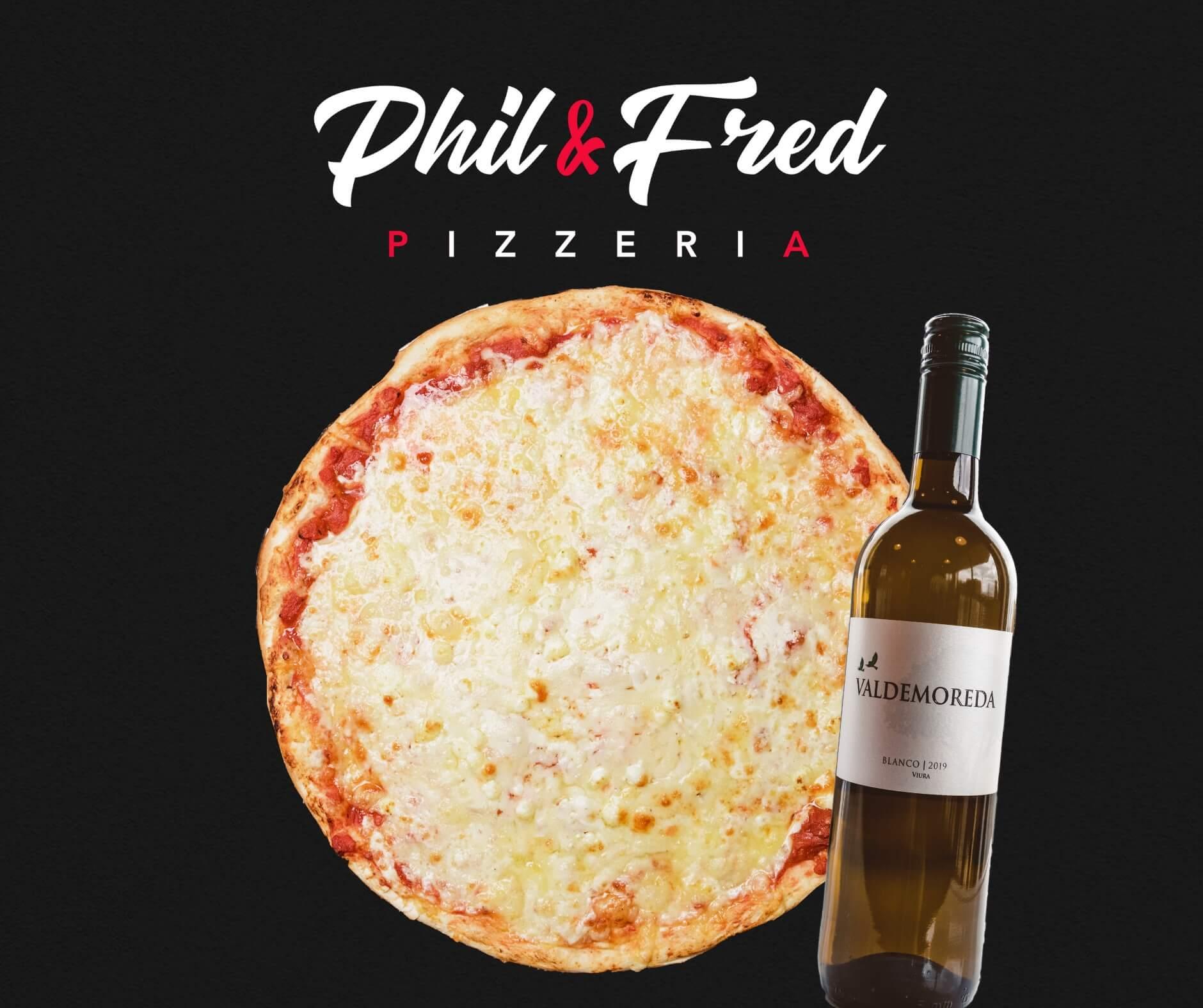 La pizza aux 4 fromages avec le vin blanc Valdemoreda